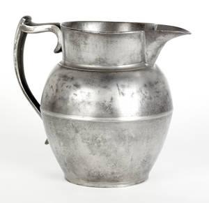 Cranston Rhode Island pewter pitcher ca 1830