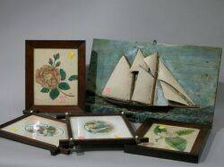 Two Framed Floral Theorems Two Framed Victorian Bird Prints and a Painted Wood Sailing Ship Panel