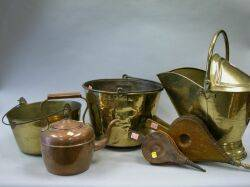 Two Brass Buckets and Coal Hod Two Bellows and a Copper Kettle