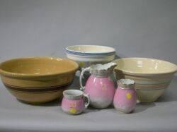 Three Stoneware Mixing Bowls and a ThreePiece Chamber Set