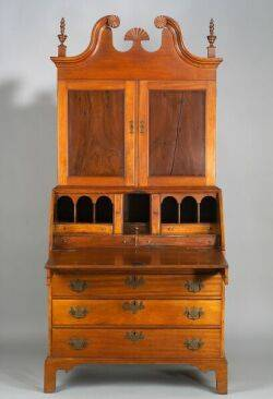 Chippendale Mahogany and Maple Scrolltop DeskBookcase