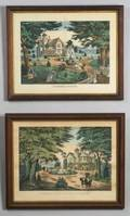Lot of Two Lithographs on Paper Including Charles Brothers publishers American 19th Century Summer Scene