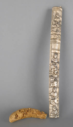 Chinese carved ivory cane grip