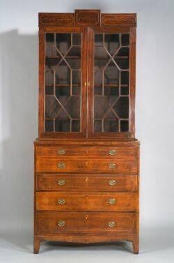 Federal Mahogany Glazed Inlaid Desk and Bookcase