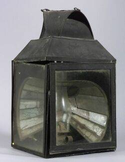 Painted Tin and Glass Lantern