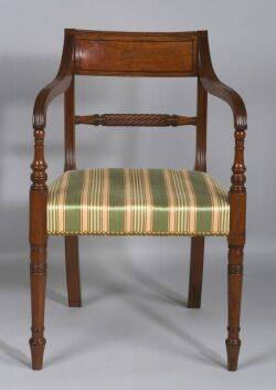 Federal Mahogany Carved and Inlaid Armchair