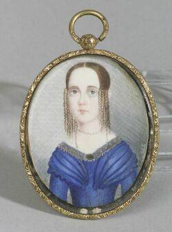 American School 19th Century Miniature Portrait of a Young Lady