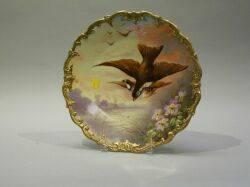 Limoges Handpainted Porcelain Plaque Depicting Swallows
