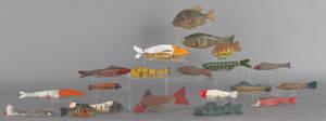 Group of twenty contemporary fish decoys