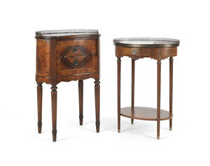 Two French occasional tables with brass gallery