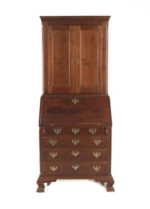 Robert Whitley bench made walnut Chippendale style secretary desk