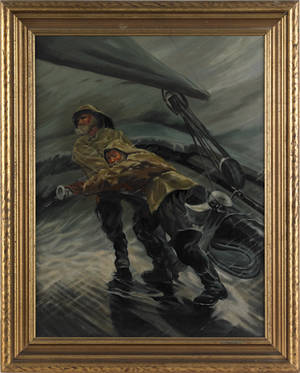 American oil on canvas marine scene of two sailors on a stormy deck