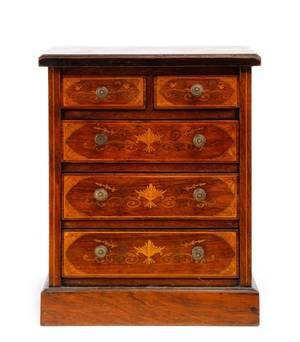 Diminutive Inlaid Mahogany Jewelry or Spice Box