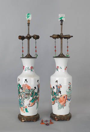 Pair of Chinese famille verte porcelain table lamps