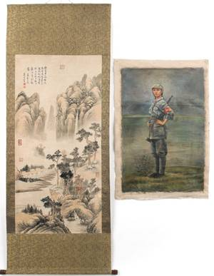 Chinese painted scroll by  Dong Yunzai