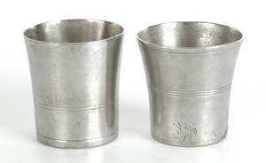 Two Wallingford Connecticut pewter beakers ca 1830