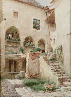 Lot of Two Watercolors Including Richard Moser Austrian b 1874 The Courtyard