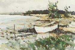 Taddeus Kladnicki PolishAmerican 19041982 Lot of Two Watercolors Including Ashore