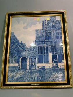 Framed Delft Scenic Ceramic Tile Plaque