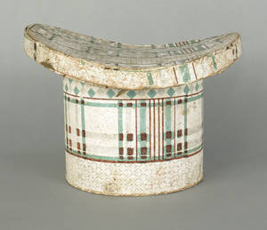 American wallpaper hat box 19th c