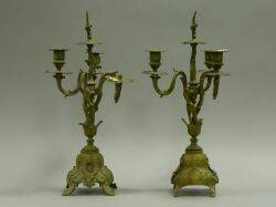 Pair of RococoStyle Gilt Bronze ThreeLight Candelabra