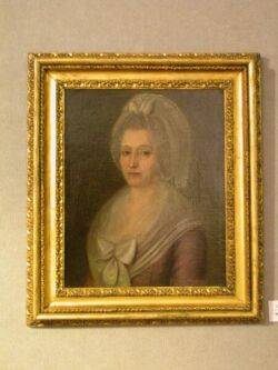 Continental School 18th19th Century Portrait of a Lady in Puce with a Lace Bonnet