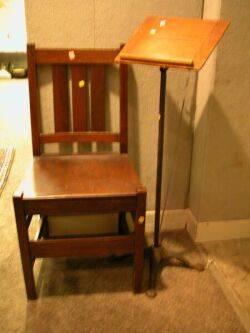 Arts and Crafts Oak Side Chair and an Oak and Cast Iron Sheet Music Stand