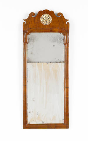 Queen Anne walnut veneer looking glass 18th c
