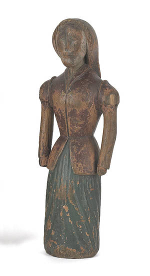 Carved and painted pine figure of a woman 19th c