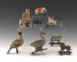 Group of late 19th c tin toys