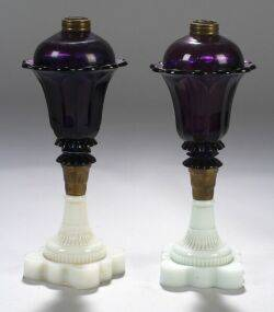 Near Pair of Amethyst and White Pressed Glass Fluid Lamps