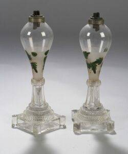 Pair of Paint Decorated Colorless Blown and Pressed Glass Fluid Lamps