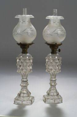 Pair of Colorless Pressed Glass Fluid Lamps with Frosted Cut Glass Shades