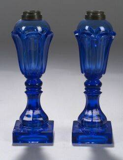 Pair of Blue Pressed Loop Glass Fluid Lamps