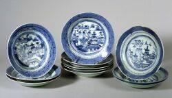 Eleven Canton Porcelain Soup Plates