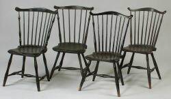 Assembled Set of Four Painted FanBack Windsor Side chairs