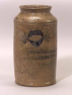 Rare Cobalt Decorated Salt Glazed Stoneware Preserve Jar