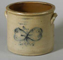 Rare Cobalt Decorated Salt Glazed Stoneware Crock