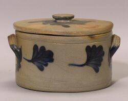 Cobalt Decorated Salt Glazed Stoneware Cake Crock with a Cover