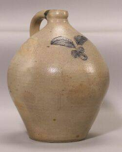Rare Cobalt Decorated Salt Glazed Stoneware Jug