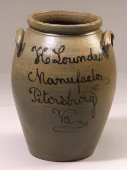 Large Cobalt Decorated Salt Glazed Stoneware Jar