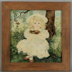 Albert Webster Davies American 18991967 Portrait of a Little Girl Holding a Birds Nest
