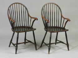 Assembled Set of Seven Painted Bowback Windsor Side Chairs