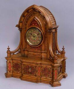 Golden Oak Gothic Revival Style Musical Clock