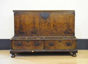 William  Mary burl veneer blanket chest on frame