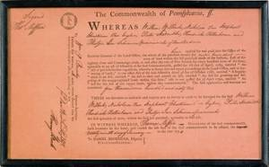 Pennsylvania land indenture dated 1794 and signed by Thomas Mifflin