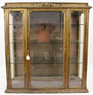 French 19th C Carved Gilt Wood Vitrine