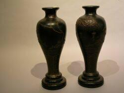 Pair of Japanned Vasiform Turned Wood Table Lamp Bases