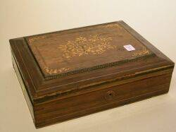Marquetry Decorated Rosewood Box and a Collection of Carved Ivory Items