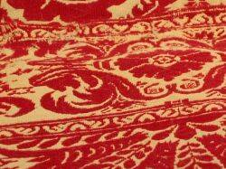 Red and White Jacquard Woven Coverlet